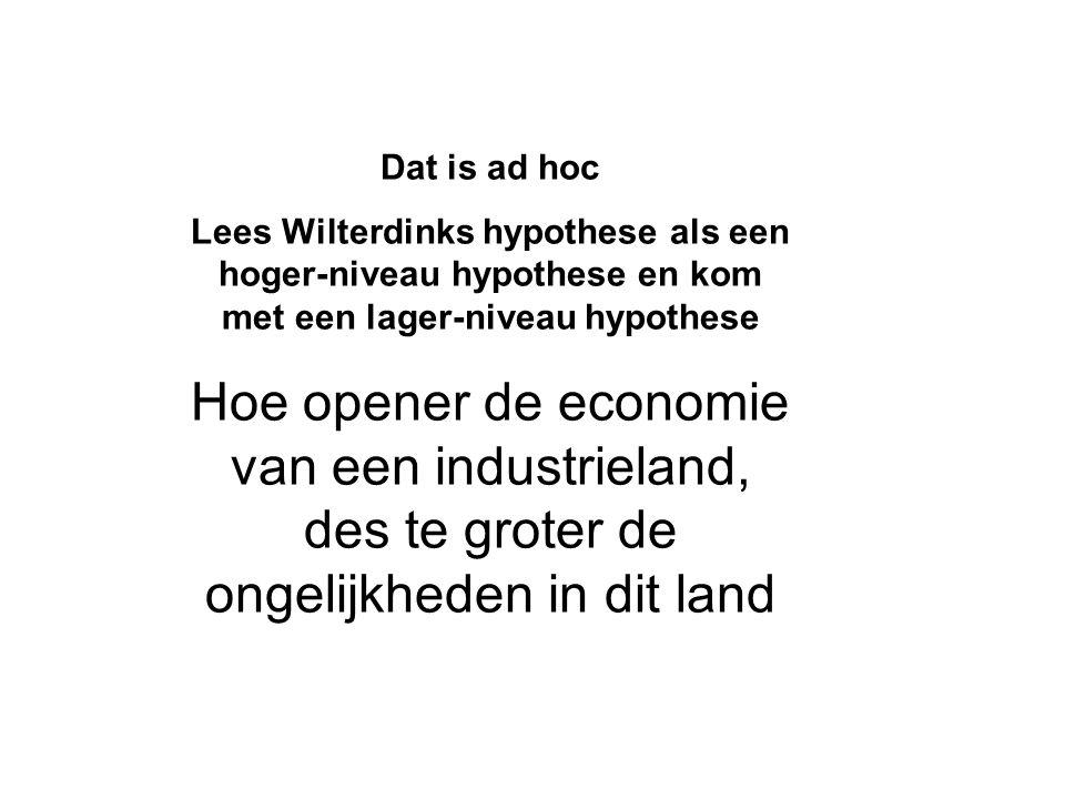 Dat is ad hoc Lees Wilterdinks hypothese als een hoger-niveau hypothese en kom met een lager-niveau hypothese Hoe opener de economie van een industrieland, des te groter de ongelijkheden in dit land