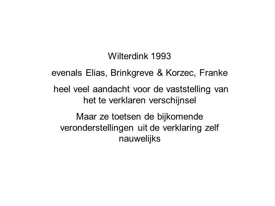 Wilterdink 1993 evenals Elias, Brinkgreve & Korzec, Franke heel veel aandacht voor de vaststelling van het te verklaren verschijnsel Maar ze toetsen de bijkomende veronderstellingen uit de verklaring zelf nauwelijks