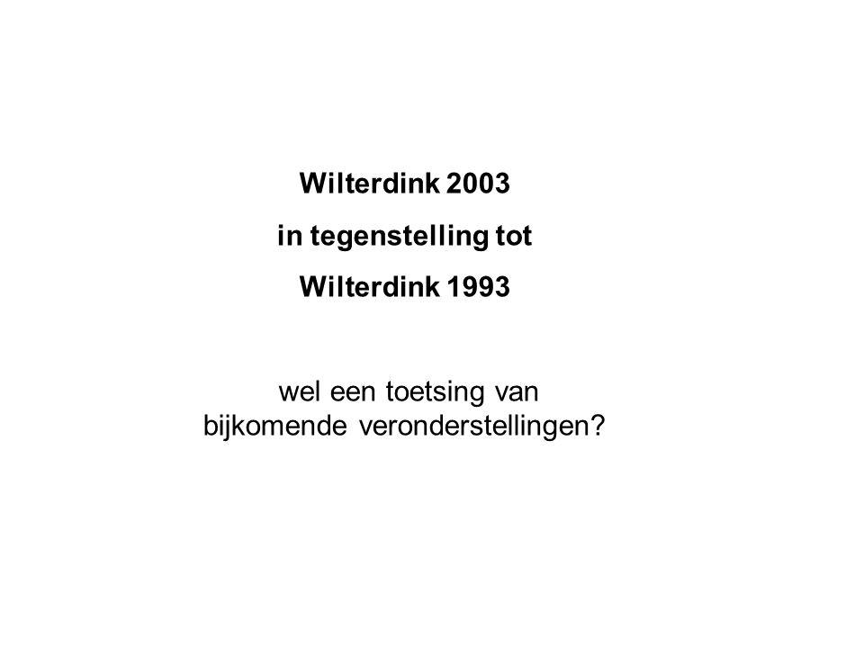 Wilterdink 2003 in tegenstelling tot Wilterdink 1993 wel een toetsing van bijkomende veronderstellingen?