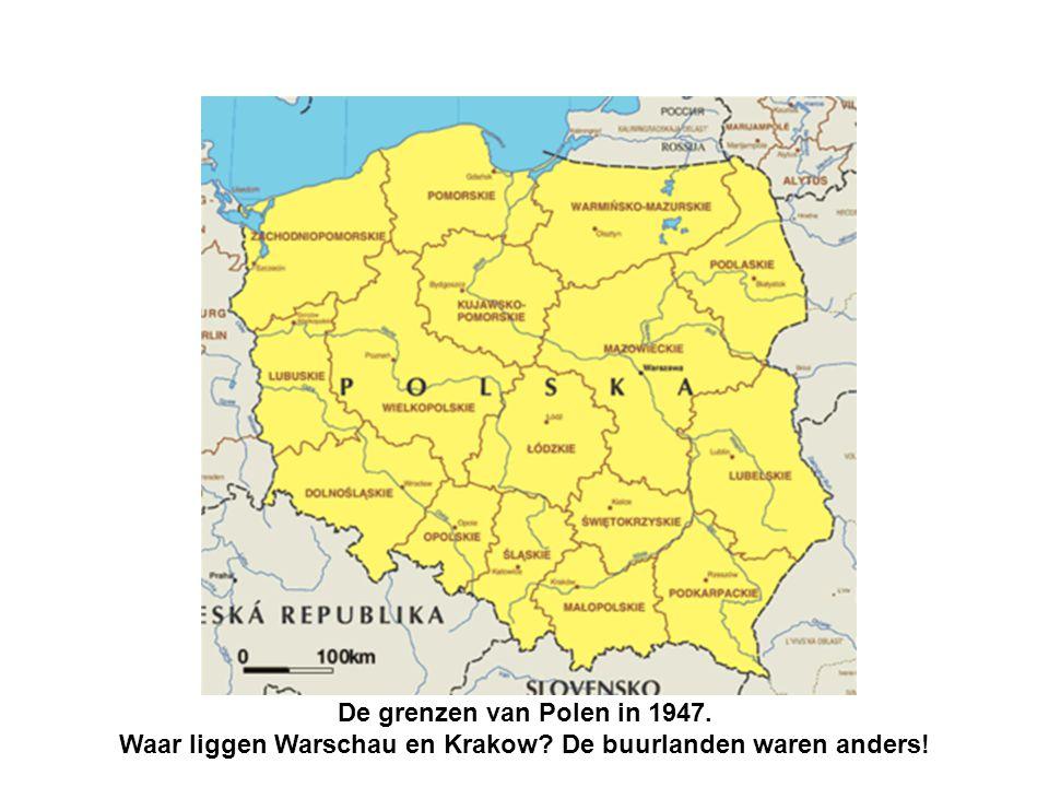 De grenzen van Polen in 1947. Waar liggen Warschau en Krakow De buurlanden waren anders!