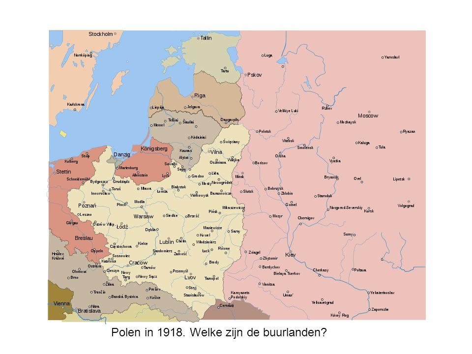 Polen in 1918. Welke zijn de buurlanden