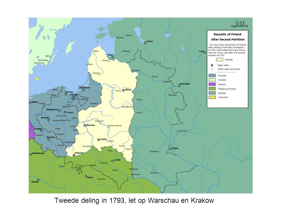 Tweede deling in 1793, let op Warschau en Krakow