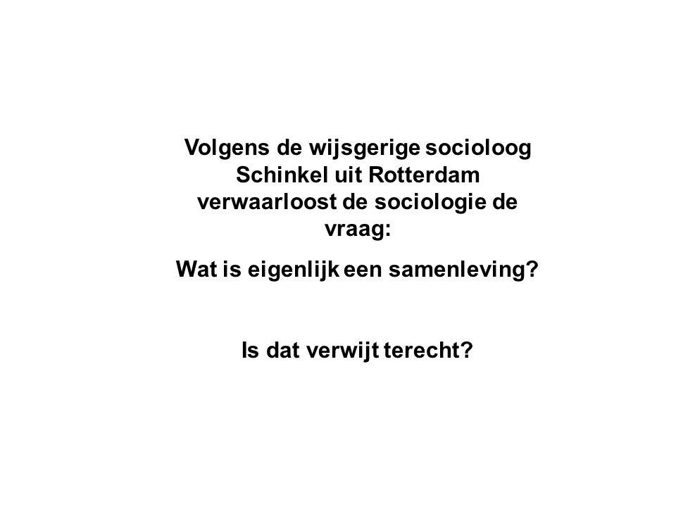 Volgens de wijsgerige socioloog Schinkel uit Rotterdam verwaarloost de sociologie de vraag: Wat is eigenlijk een samenleving.