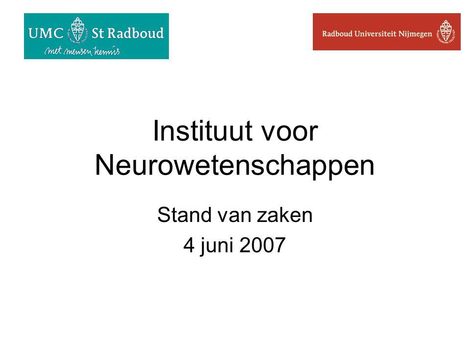 Instituut voor Neurowetenschappen Stand van zaken 4 juni 2007