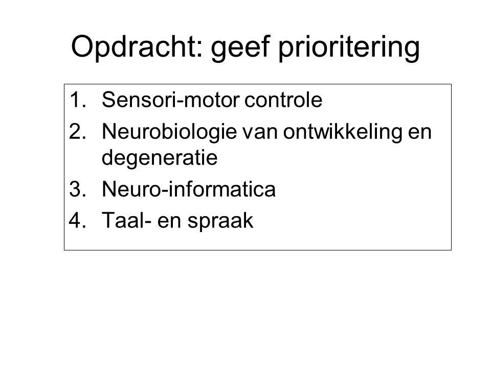 Opdracht: geef prioritering 1.Sensori-motor controle 2.Neurobiologie van ontwikkeling en degeneratie 3.Neuro-informatica 4.Taal- en spraak