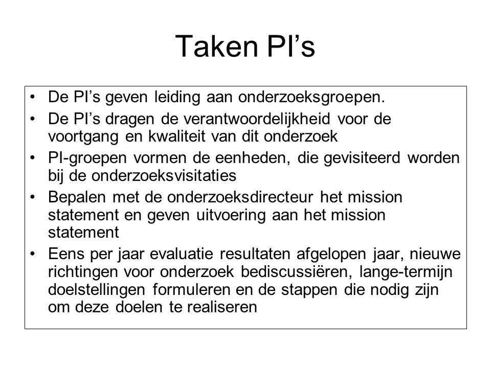 Taken PI's De PI's geven leiding aan onderzoeksgroepen. De PI's dragen de verantwoordelijkheid voor de voortgang en kwaliteit van dit onderzoek PI-gro
