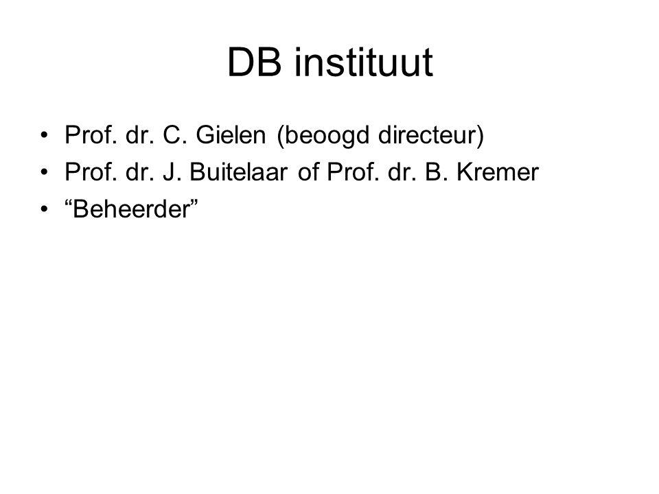 "DB instituut Prof. dr. C. Gielen (beoogd directeur) Prof. dr. J. Buitelaar of Prof. dr. B. Kremer ""Beheerder"""