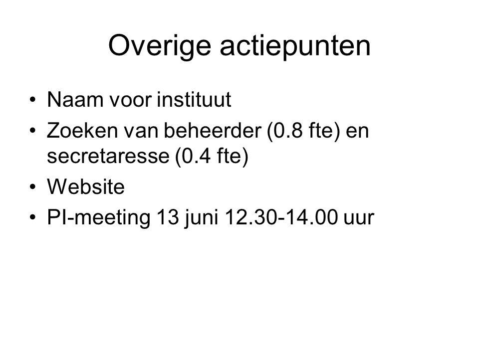Overige actiepunten Naam voor instituut Zoeken van beheerder (0.8 fte) en secretaresse (0.4 fte) Website PI-meeting 13 juni 12.30-14.00 uur