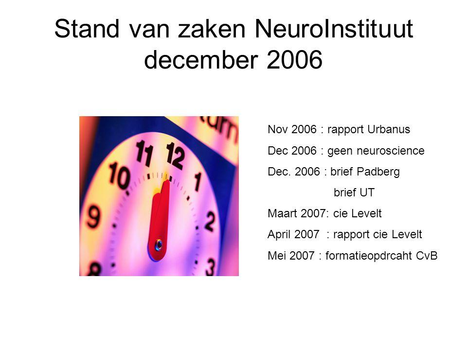 Nov 2006 : rapport Urbanus Dec 2006 : geen neuroscience Dec. 2006 : brief Padberg brief UT Maart 2007: cie Levelt April 2007 : rapport cie Levelt Mei