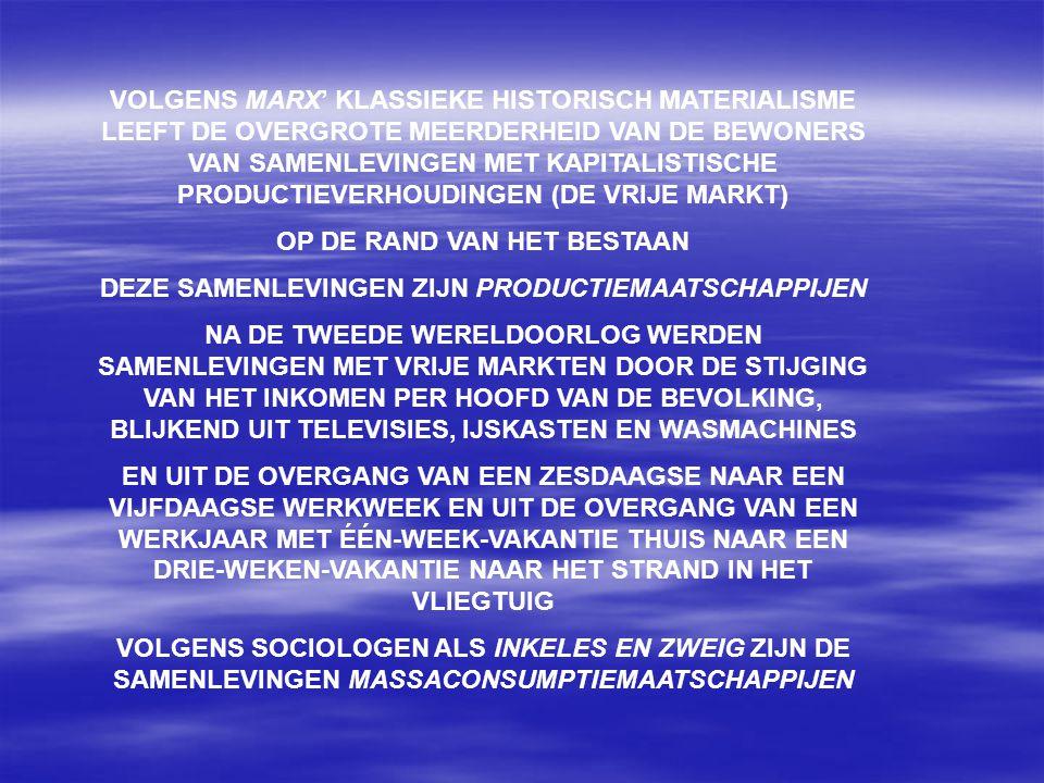 VOLGENS MARX' KLASSIEKE HISTORISCH MATERIALISME LEEFT DE OVERGROTE MEERDERHEID VAN DE BEWONERS VAN SAMENLEVINGEN MET KAPITALISTISCHE PRODUCTIEVERHOUDINGEN (DE VRIJE MARKT) OP DE RAND VAN HET BESTAAN DEZE SAMENLEVINGEN ZIJN PRODUCTIEMAATSCHAPPIJEN NA DE TWEEDE WERELDOORLOG WERDEN SAMENLEVINGEN MET VRIJE MARKTEN DOOR DE STIJGING VAN HET INKOMEN PER HOOFD VAN DE BEVOLKING, BLIJKEND UIT TELEVISIES, IJSKASTEN EN WASMACHINES EN UIT DE OVERGANG VAN EEN ZESDAAGSE NAAR EEN VIJFDAAGSE WERKWEEK EN UIT DE OVERGANG VAN EEN WERKJAAR MET ÉÉN-WEEK-VAKANTIE THUIS NAAR EEN DRIE-WEKEN-VAKANTIE NAAR HET STRAND IN HET VLIEGTUIG VOLGENS SOCIOLOGEN ALS INKELES EN ZWEIG ZIJN DE SAMENLEVINGEN MASSACONSUMPTIEMAATSCHAPPIJEN