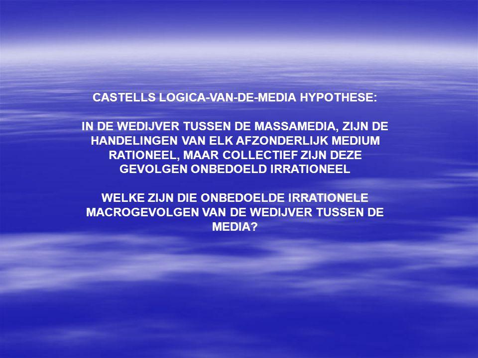 CASTELLS LOGICA-VAN-DE-MEDIA HYPOTHESE: IN DE WEDIJVER TUSSEN DE MASSAMEDIA, ZIJN DE HANDELINGEN VAN ELK AFZONDERLIJK MEDIUM RATIONEEL, MAAR COLLECTIEF ZIJN DEZE GEVOLGEN ONBEDOELD IRRATIONEEL WELKE ZIJN DIE ONBEDOELDE IRRATIONELE MACROGEVOLGEN VAN DE WEDIJVER TUSSEN DE MEDIA