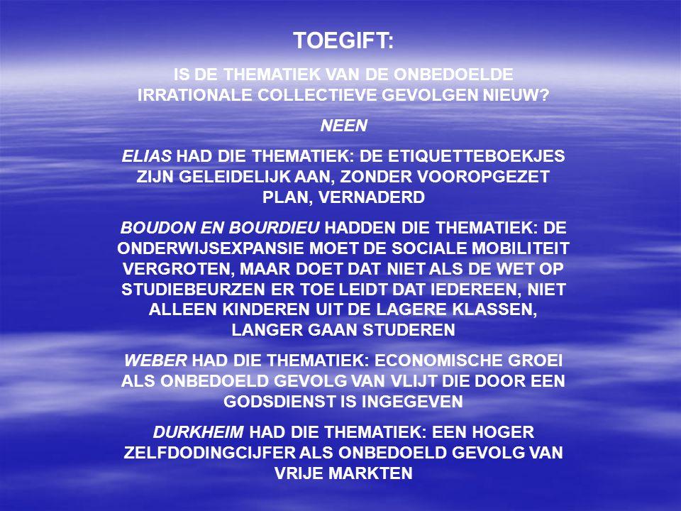 TOEGIFT: IS DE THEMATIEK VAN DE ONBEDOELDE IRRATIONALE COLLECTIEVE GEVOLGEN NIEUW.