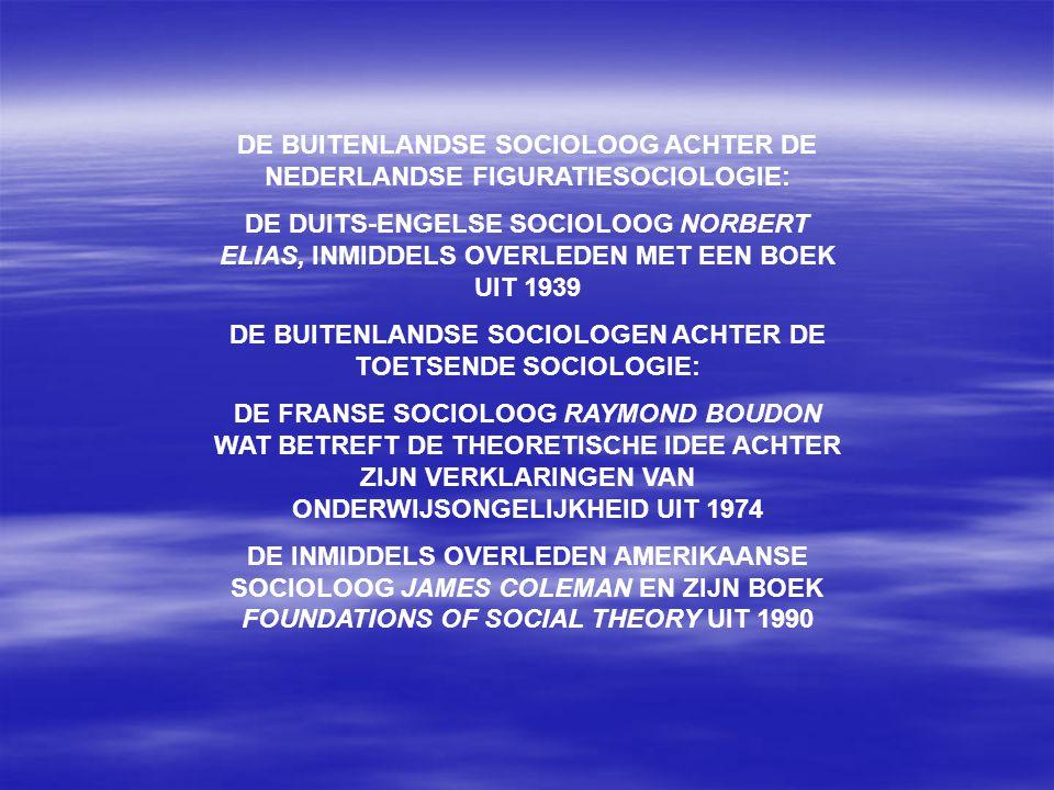DE BUITENLANDSE SOCIOLOOG ACHTER DE NEDERLANDSE FIGURATIESOCIOLOGIE: DE DUITS-ENGELSE SOCIOLOOG NORBERT ELIAS, INMIDDELS OVERLEDEN MET EEN BOEK UIT 1939 DE BUITENLANDSE SOCIOLOGEN ACHTER DE TOETSENDE SOCIOLOGIE: DE FRANSE SOCIOLOOG RAYMOND BOUDON WAT BETREFT DE THEORETISCHE IDEE ACHTER ZIJN VERKLARINGEN VAN ONDERWIJSONGELIJKHEID UIT 1974 DE INMIDDELS OVERLEDEN AMERIKAANSE SOCIOLOOG JAMES COLEMAN EN ZIJN BOEK FOUNDATIONS OF SOCIAL THEORY UIT 1990