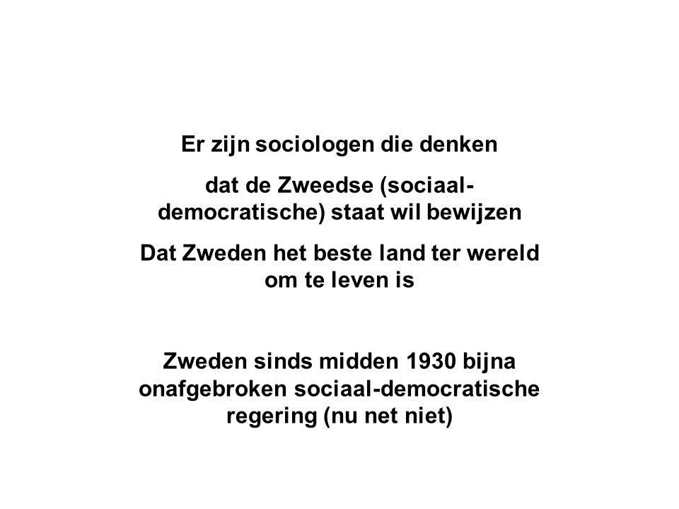 Er zijn sociologen die denken dat de Zweedse (sociaal- democratische) staat wil bewijzen Dat Zweden het beste land ter wereld om te leven is Zweden sinds midden 1930 bijna onafgebroken sociaal-democratische regering (nu net niet)