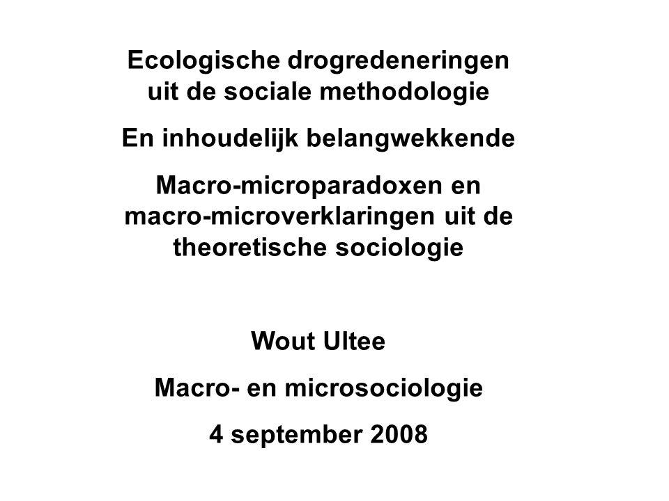 Ecologische drogredeneringen uit de sociale methodologie En inhoudelijk belangwekkende Macro-microparadoxen en macro-microverklaringen uit de theoreti