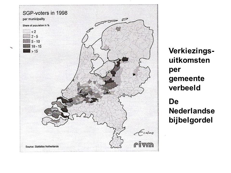 Verkiezings- uitkomsten per gemeente verbeeld De Nederlandse bijbelgordel