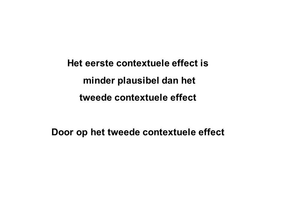 Het eerste contextuele effect is minder plausibel dan het tweede contextuele effect Door op het tweede contextuele effect