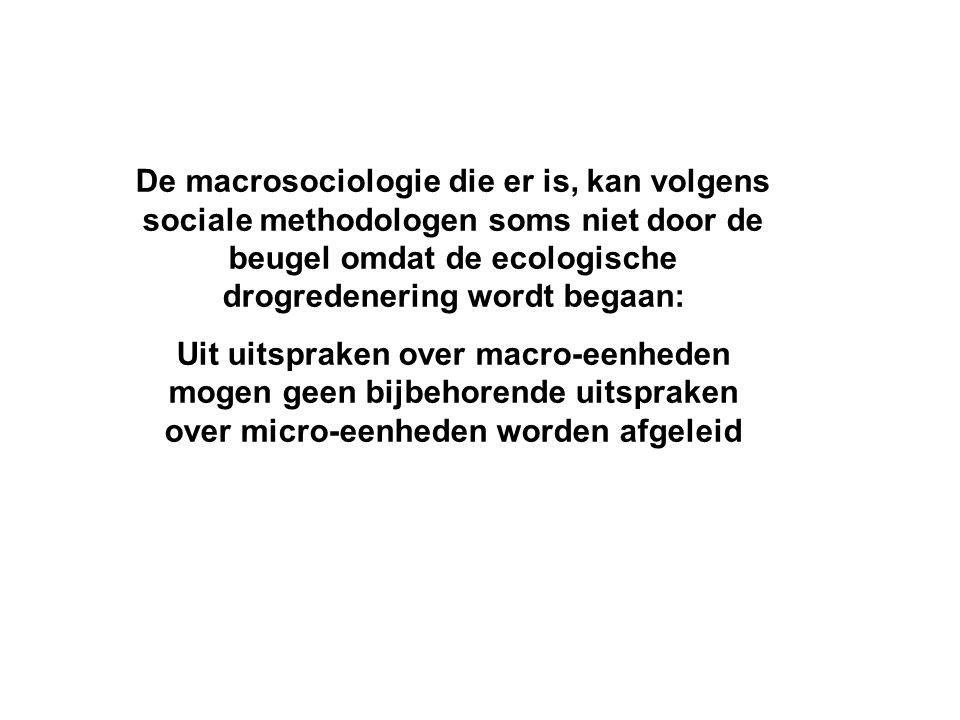 De macrosociologie die er is, kan volgens sociale methodologen soms niet door de beugel omdat de ecologische drogredenering wordt begaan: Uit uitsprak