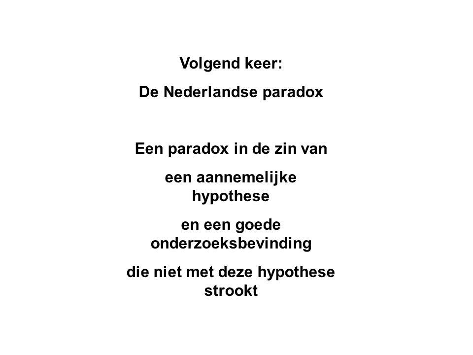 Volgend keer: De Nederlandse paradox Een paradox in de zin van een aannemelijke hypothese en een goede onderzoeksbevinding die niet met deze hypothese