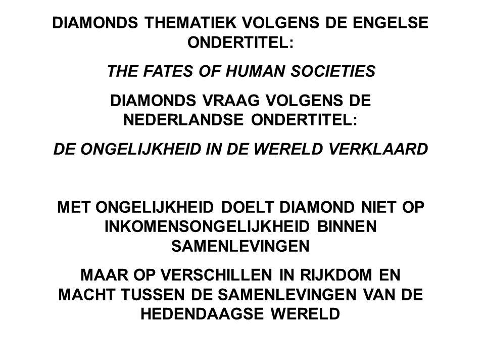 DIAMONDS THEMATIEK VOLGENS DE ENGELSE ONDERTITEL: THE FATES OF HUMAN SOCIETIES DIAMONDS VRAAG VOLGENS DE NEDERLANDSE ONDERTITEL: DE ONGELIJKHEID IN DE WERELD VERKLAARD MET ONGELIJKHEID DOELT DIAMOND NIET OP INKOMENSONGELIJKHEID BINNEN SAMENLEVINGEN MAAR OP VERSCHILLEN IN RIJKDOM EN MACHT TUSSEN DE SAMENLEVINGEN VAN DE HEDENDAAGSE WERELD