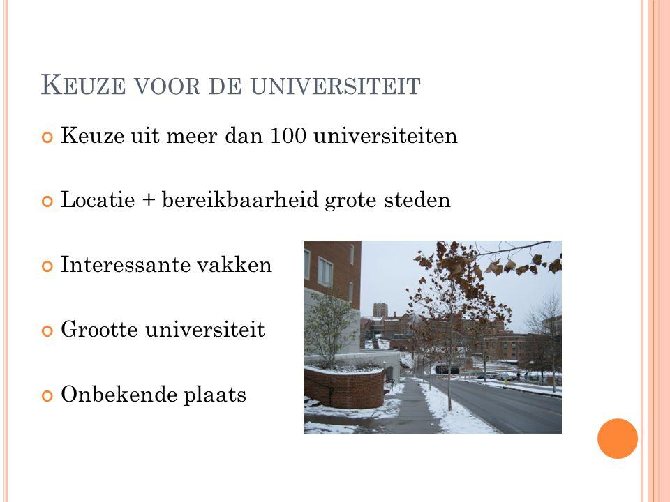 K EUZE VOOR DE UNIVERSITEIT Keuze uit meer dan 100 universiteiten Locatie + bereikbaarheid grote steden Interessante vakken Grootte universiteit Onbekende plaats