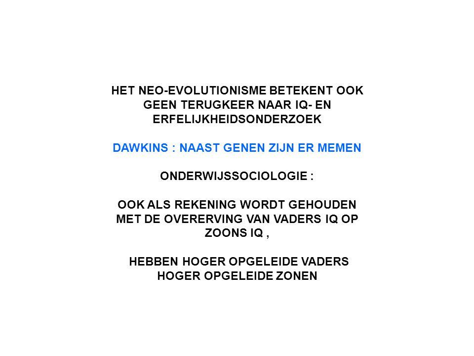 HET NEO-EVOLUTIONISME BETEKENT OOK GEEN TERUGKEER NAAR IQ- EN ERFELIJKHEIDSONDERZOEK DAWKINS : NAAST GENEN ZIJN ER MEMEN ONDERWIJSSOCIOLOGIE : OOK ALS REKENING WORDT GEHOUDEN MET DE OVERERVING VAN VADERS IQ OP ZOONS IQ, HEBBEN HOGER OPGELEIDE VADERS HOGER OPGELEIDE ZONEN