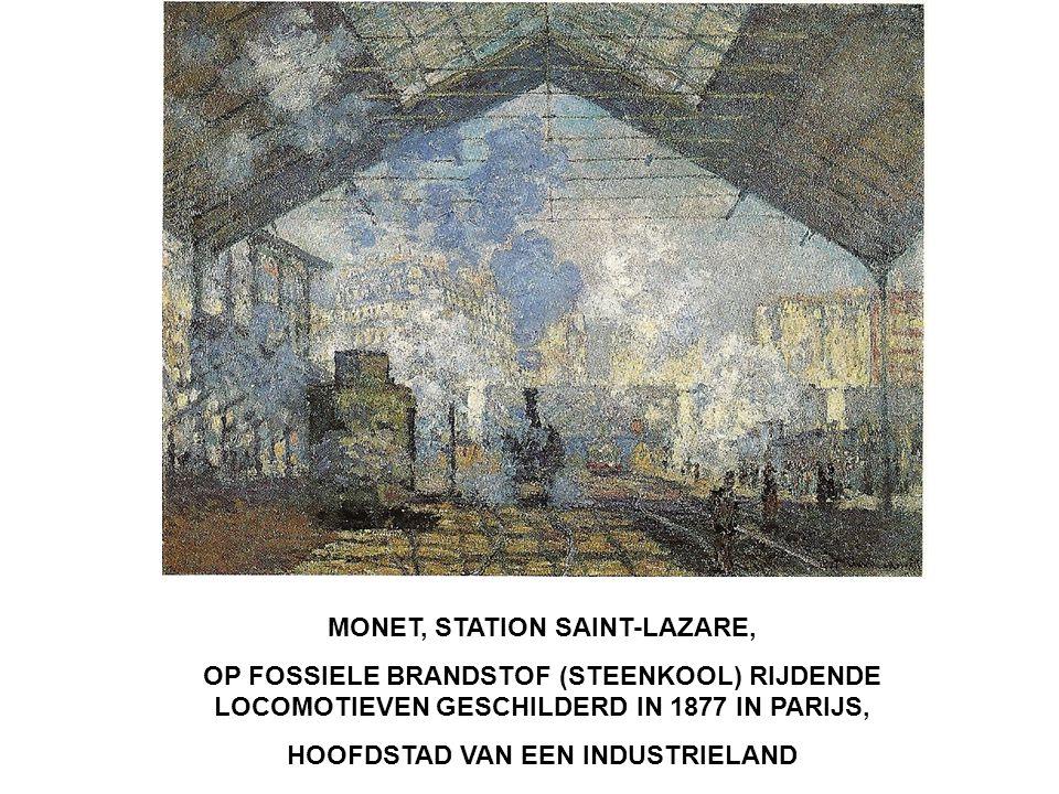 MONET, STATION SAINT-LAZARE, OP FOSSIELE BRANDSTOF (STEENKOOL) RIJDENDE LOCOMOTIEVEN GESCHILDERD IN 1877 IN PARIJS, HOOFDSTAD VAN EEN INDUSTRIELAND