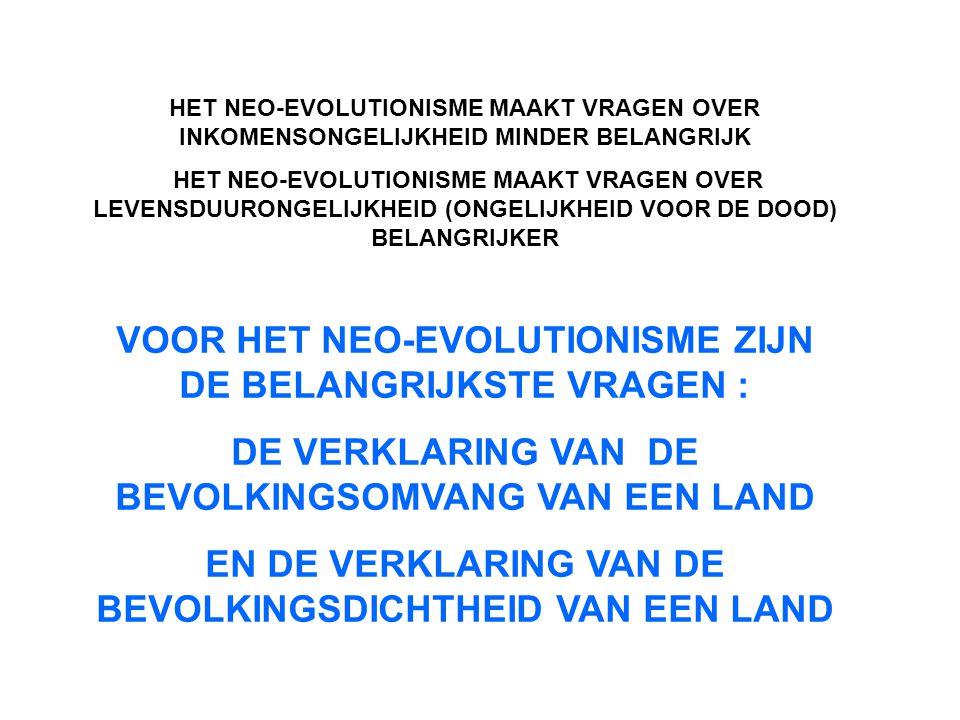 HET NEO-EVOLUTIONISME MAAKT VRAGEN OVER INKOMENSONGELIJKHEID MINDER BELANGRIJK HET NEO-EVOLUTIONISME MAAKT VRAGEN OVER LEVENSDUURONGELIJKHEID (ONGELIJKHEID VOOR DE DOOD) BELANGRIJKER VOOR HET NEO-EVOLUTIONISME ZIJN DE BELANGRIJKSTE VRAGEN : DE VERKLARING VAN DE BEVOLKINGSOMVANG VAN EEN LAND EN DE VERKLARING VAN DE BEVOLKINGSDICHTHEID VAN EEN LAND