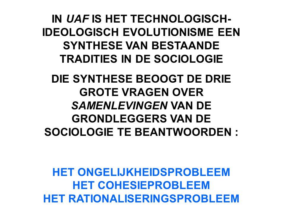 IN UAF IS HET TECHNOLOGISCH- IDEOLOGISCH EVOLUTIONISME EEN SYNTHESE VAN BESTAANDE TRADITIES IN DE SOCIOLOGIE DIE SYNTHESE BEOOGT DE DRIE GROTE VRAGEN OVER SAMENLEVINGEN VAN DE GRONDLEGGERS VAN DE SOCIOLOGIE TE BEANTWOORDEN : HET ONGELIJKHEIDSPROBLEEM HET COHESIEPROBLEEM HET RATIONALISERINGSPROBLEEM