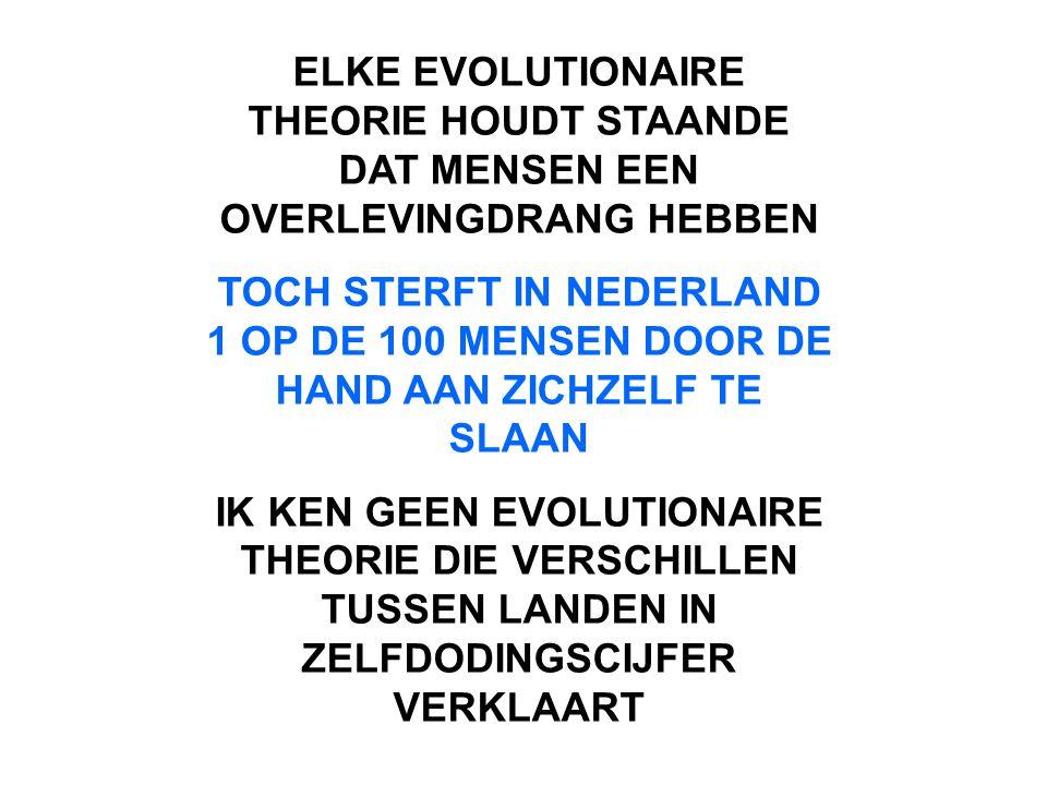 ELKE EVOLUTIONAIRE THEORIE HOUDT STAANDE DAT MENSEN EEN OVERLEVINGDRANG HEBBEN TOCH STERFT IN NEDERLAND 1 OP DE 100 MENSEN DOOR DE HAND AAN ZICHZELF TE SLAAN IK KEN GEEN EVOLUTIONAIRE THEORIE DIE VERSCHILLEN TUSSEN LANDEN IN ZELFDODINGSCIJFER VERKLAART