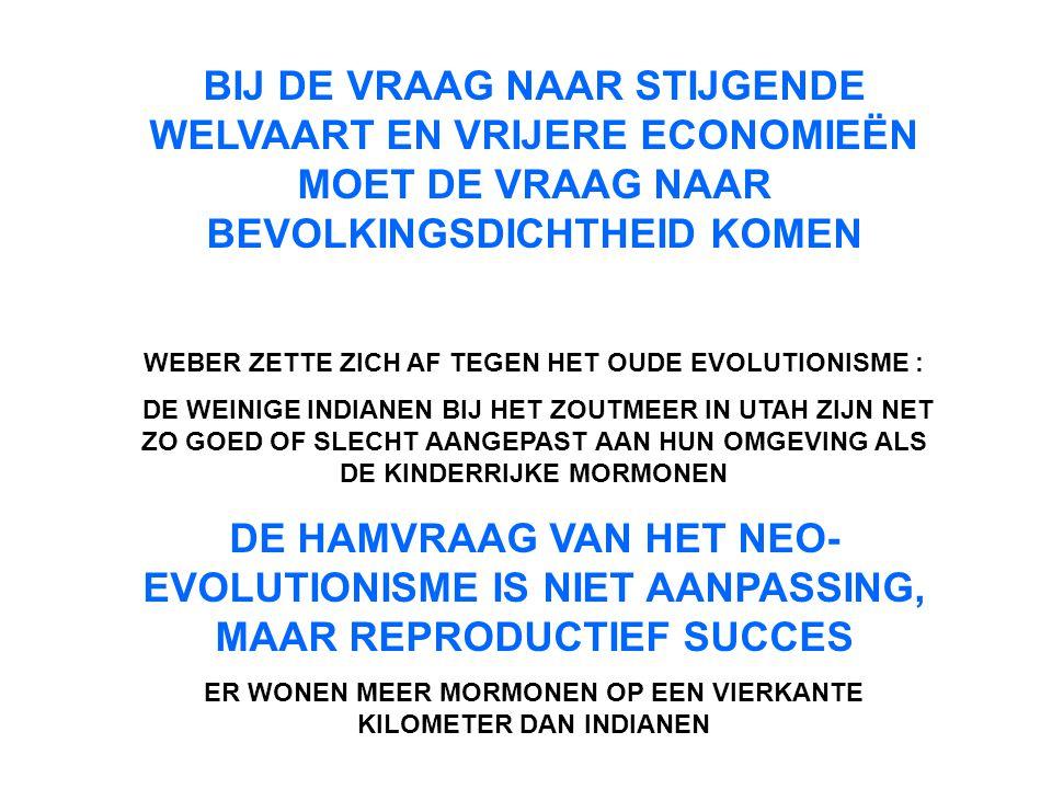 BIJ DE VRAAG NAAR STIJGENDE WELVAART EN VRIJERE ECONOMIEËN MOET DE VRAAG NAAR BEVOLKINGSDICHTHEID KOMEN WEBER ZETTE ZICH AF TEGEN HET OUDE EVOLUTIONIS