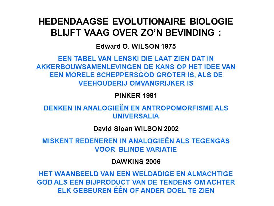 HEDENDAAGSE EVOLUTIONAIRE BIOLOGIE BLIJFT VAAG OVER ZO'N BEVINDING : Edward O. WILSON 1975 EEN TABEL VAN LENSKI DIE LAAT ZIEN DAT IN AKKERBOUWSAMENLEV
