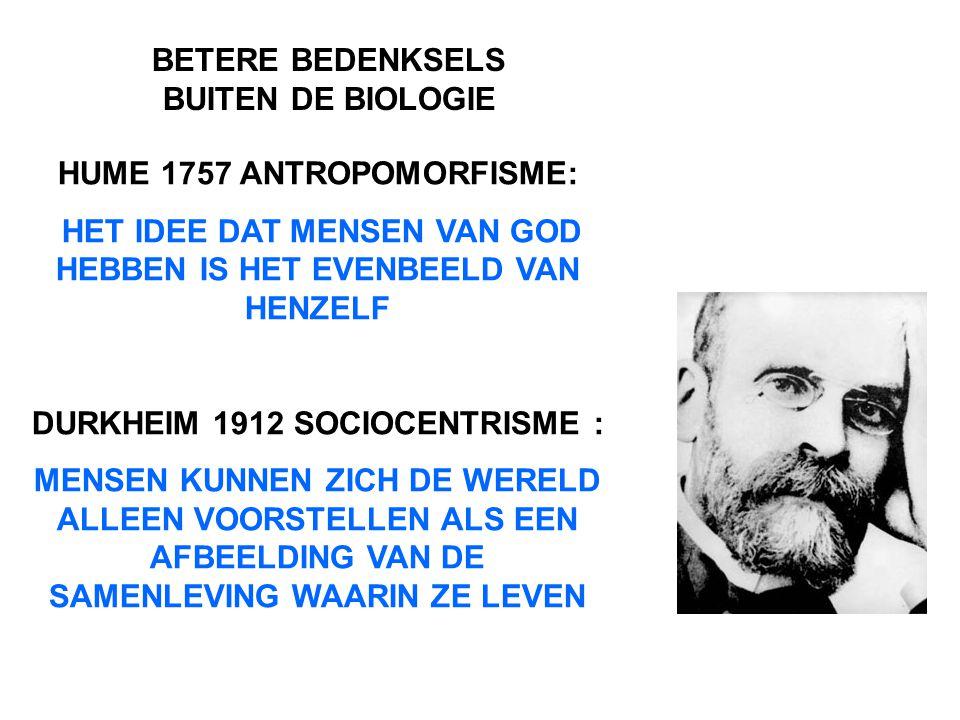 HUME 1757 ANTROPOMORFISME: HET IDEE DAT MENSEN VAN GOD HEBBEN IS HET EVENBEELD VAN HENZELF DURKHEIM 1912 SOCIOCENTRISME : MENSEN KUNNEN ZICH DE WERELD ALLEEN VOORSTELLEN ALS EEN AFBEELDING VAN DE SAMENLEVING WAARIN ZE LEVEN BETERE BEDENKSELS BUITEN DE BIOLOGIE