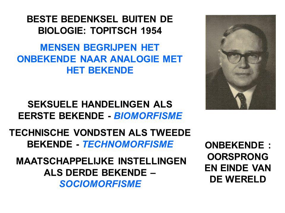 BESTE BEDENKSEL BUITEN DE BIOLOGIE: TOPITSCH 1954 MENSEN BEGRIJPEN HET ONBEKENDE NAAR ANALOGIE MET HET BEKENDE SEKSUELE HANDELINGEN ALS EERSTE BEKENDE - BIOMORFISME TECHNISCHE VONDSTEN ALS TWEEDE BEKENDE - TECHNOMORFISME MAATSCHAPPELIJKE INSTELLINGEN ALS DERDE BEKENDE – SOCIOMORFISME ONBEKENDE : OORSPRONG EN EINDE VAN DE WERELD