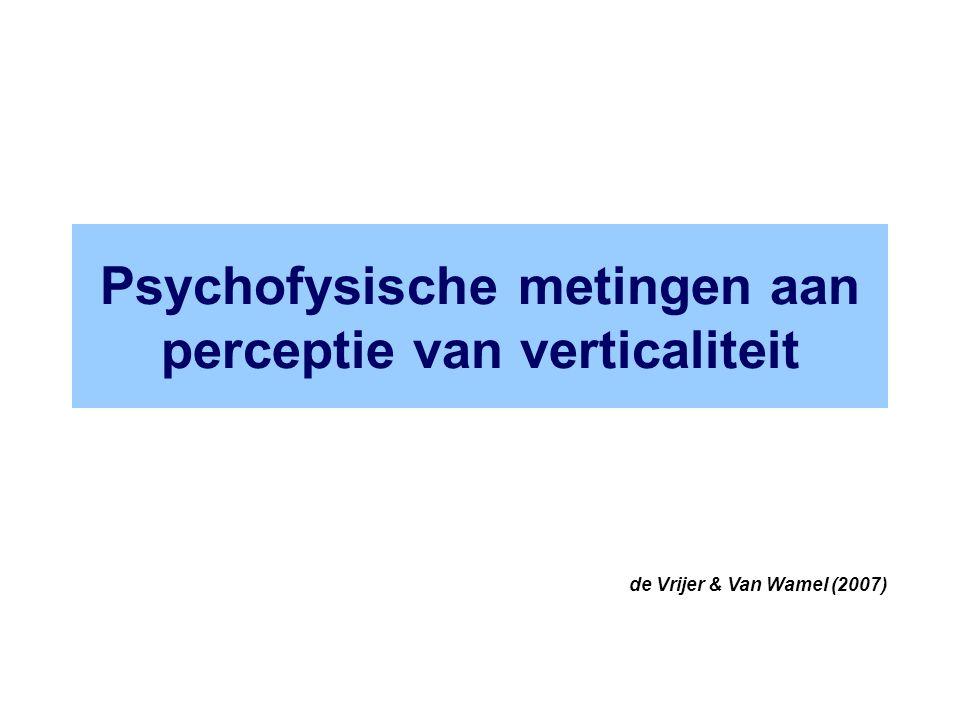 Psychofysische metingen aan perceptie van verticaliteit de Vrijer & Van Wamel (2007)