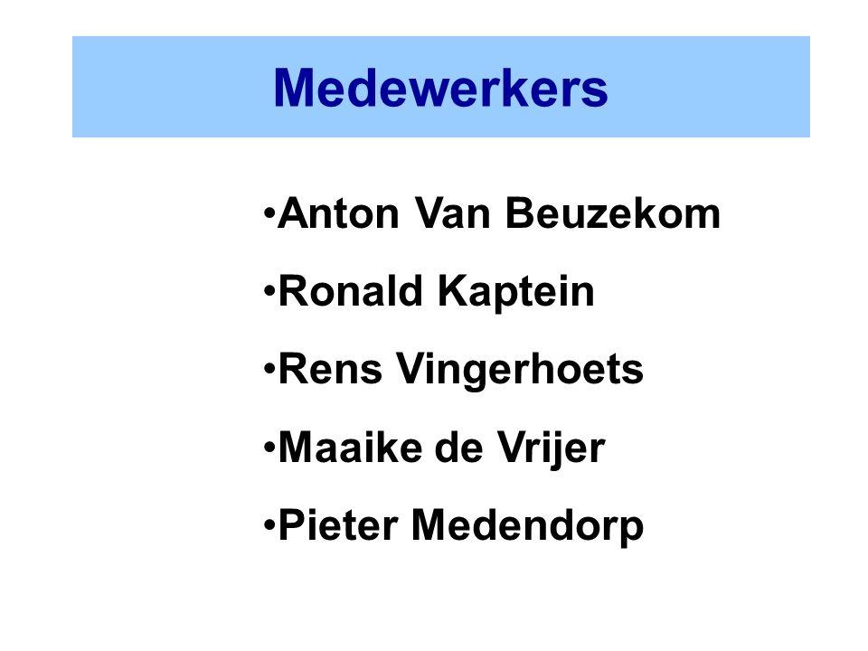 Medewerkers Anton Van Beuzekom Ronald Kaptein Rens Vingerhoets Maaike de Vrijer Pieter Medendorp