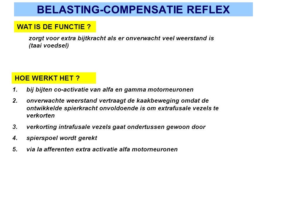BELASTING-COMPENSATIE REFLEX WAT IS DE FUNCTIE ? zorgt voor extra bijtkracht als er onverwacht veel weerstand is (taai voedsel) HOE WERKT HET ? 1.bij