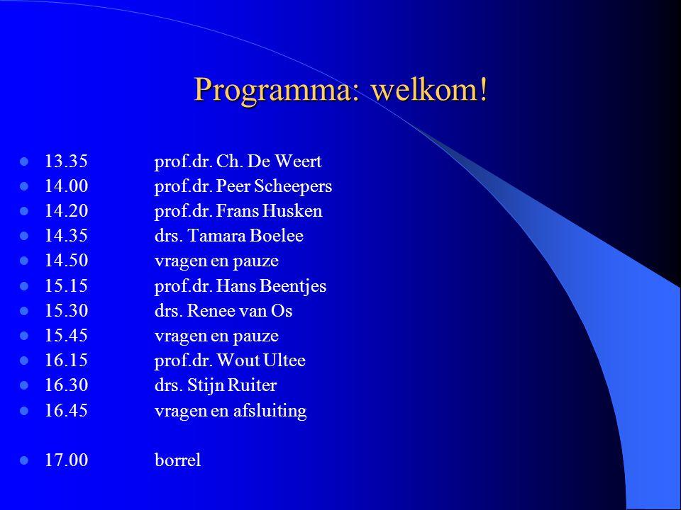 Programma: welkom. 13.35prof.dr. Ch. De Weert 14.00prof.dr.