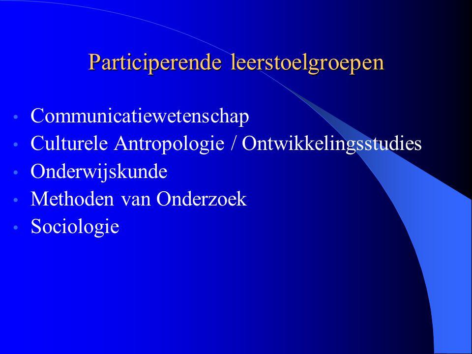 Participerende leerstoelgroepen Communicatiewetenschap Culturele Antropologie / Ontwikkelingsstudies Onderwijskunde Methoden van Onderzoek Sociologie