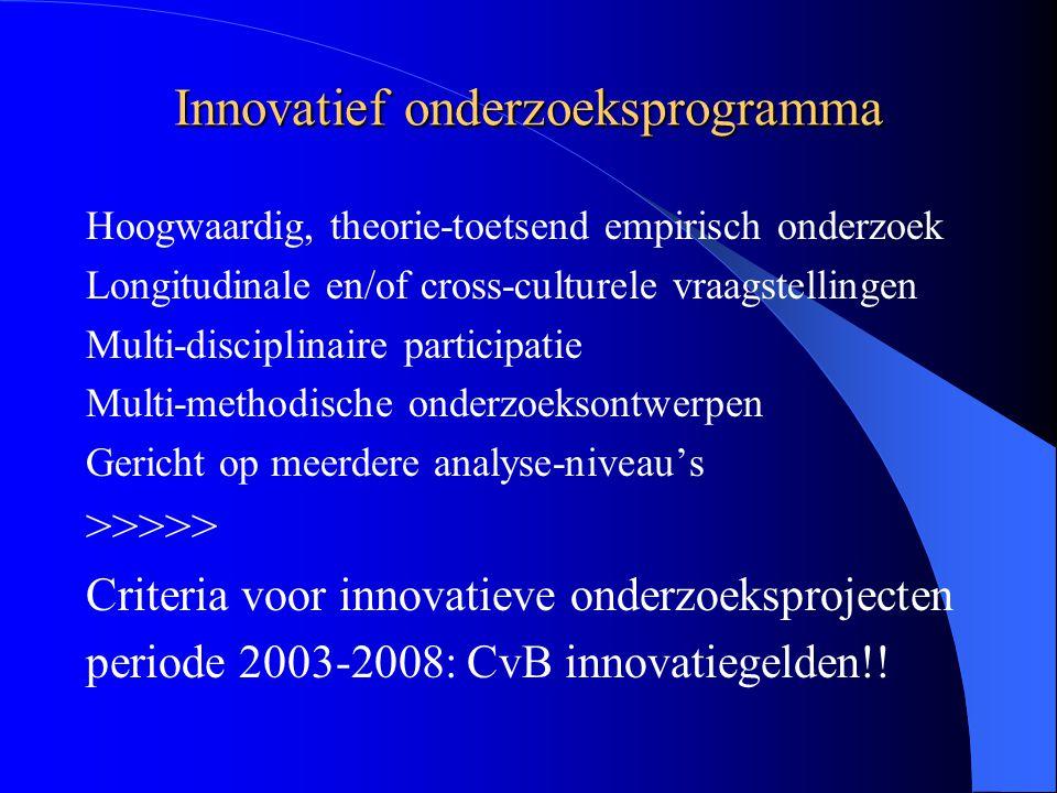 Innovatief onderzoeksprogramma Hoogwaardig, theorie-toetsend empirisch onderzoek Longitudinale en/of cross-culturele vraagstellingen Multi-disciplinaire participatie Multi-methodische onderzoeksontwerpen Gericht op meerdere analyse-niveau's >>>>> Criteria voor innovatieve onderzoeksprojecten periode 2003-2008: CvB innovatiegelden!!