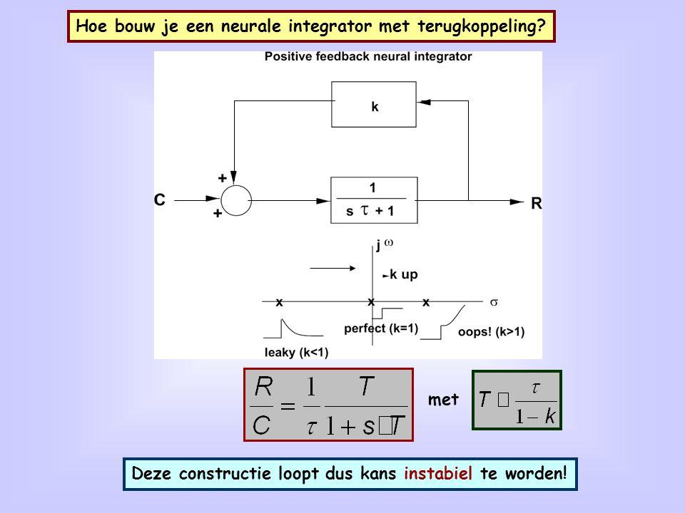 Hoe bouw je een neurale integrator met terugkoppeling? met Deze constructie loopt dus kans instabiel te worden!