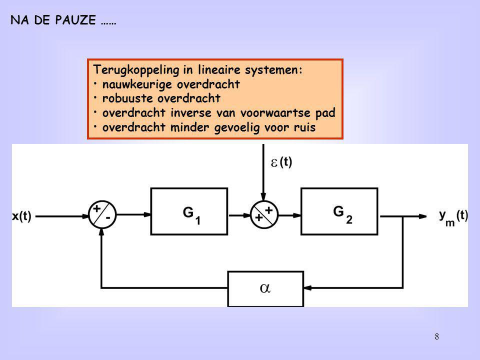 Terugkoppeling in lineaire systemen: nauwkeurige overdracht robuuste overdracht overdracht inverse van voorwaartse pad overdracht minder gevoelig voor