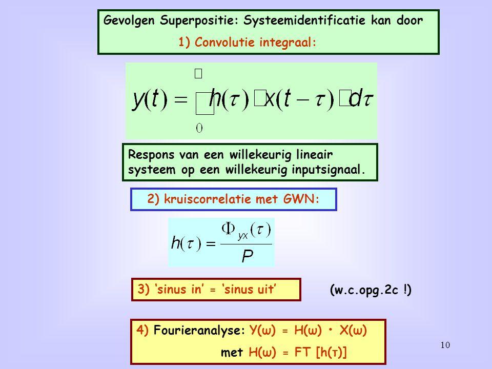10 Gevolgen Superpositie: Systeemidentificatie kan door 1) Convolutie integraal: Respons van een willekeurig lineair systeem op een willekeurig inputs