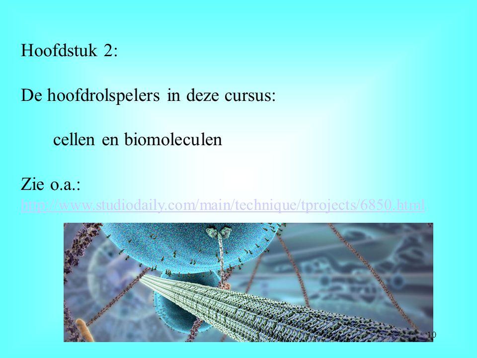 Hoofdstuk 2: De hoofdrolspelers in deze cursus: cellen en biomoleculen Zie o.a.: http://www.studiodaily.com/main/technique/tprojects/6850.html http://