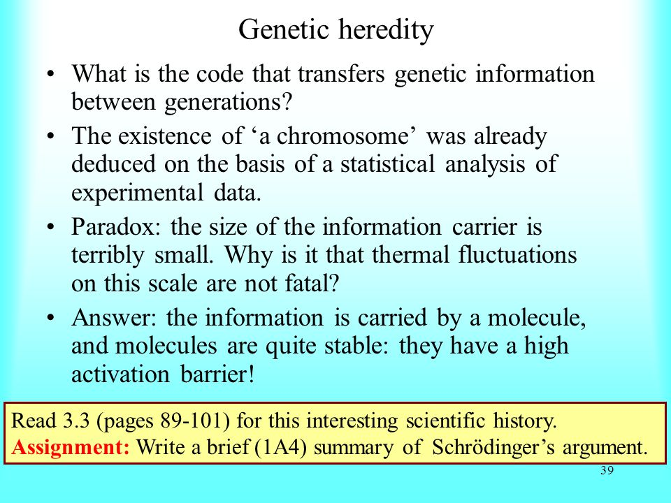 Genetic heredity What is the code that transfers genetic information between generations.