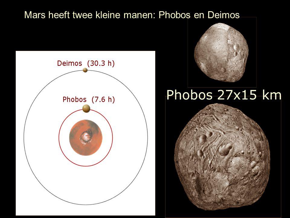 Phobos 27x15 km Mars heeft twee kleine manen: Phobos en Deimos