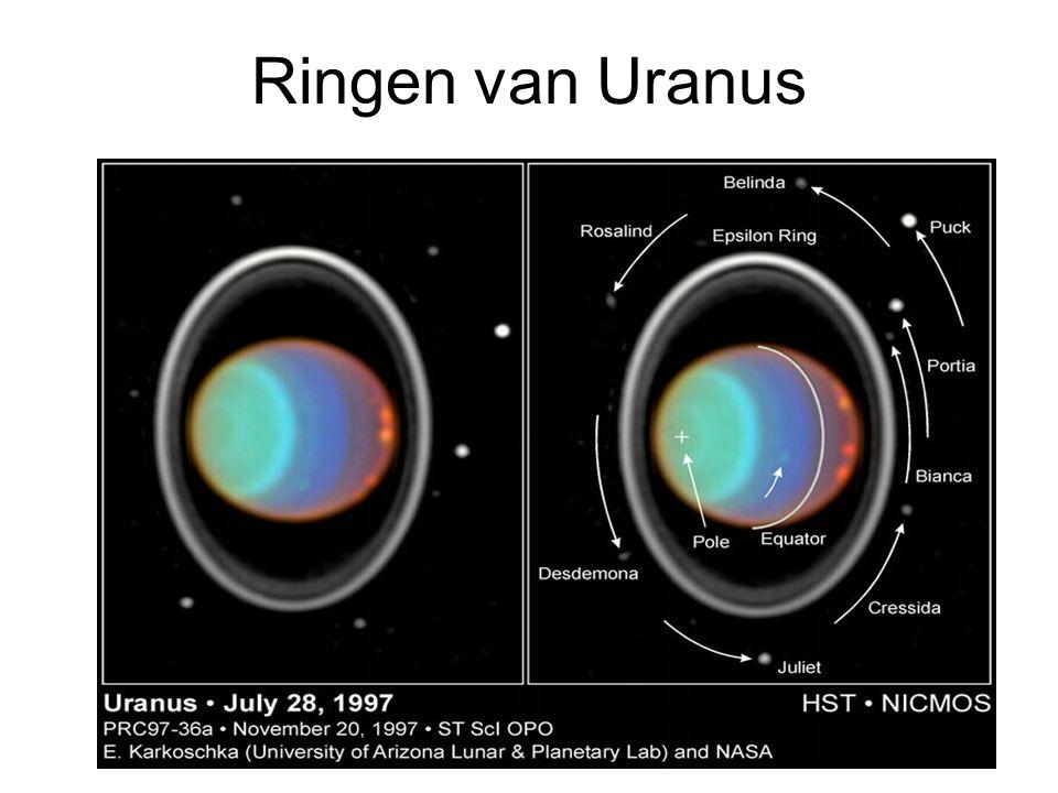 Titan Na Ganymedes grootste maan in Zonnestelsel Groter dan Mercurius en Pluto Enige maan met atmosfeer: 1.5 bar aan oppervlak: N 2, Ar.