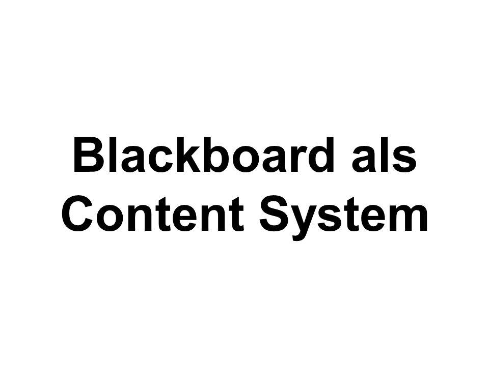 Blackboard als Content System