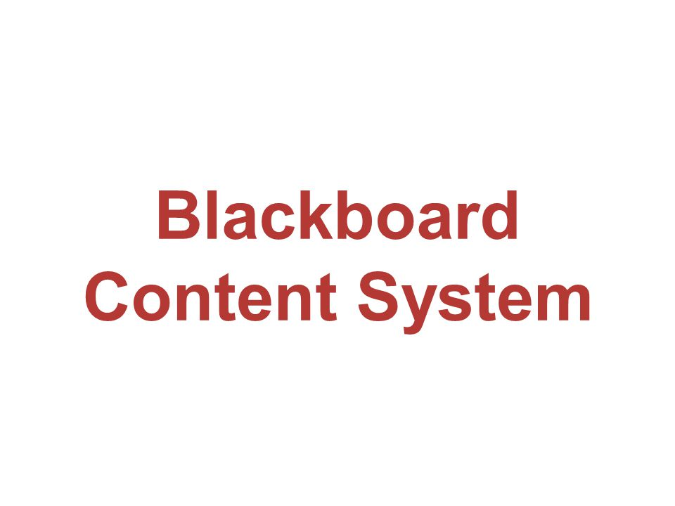 Blackboard Content System