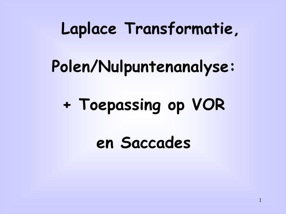 1 Laplace Transformatie, Polen/Nulpuntenanalyse: + Toepassing op VOR en Saccades